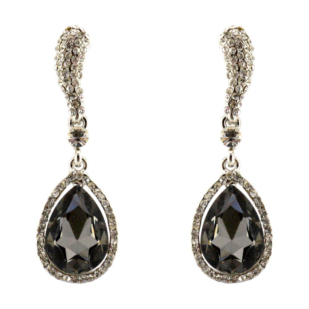 296-GRAY CHARCOAL Fashion Party & Wedding Jewelry Tear Drop Dangle Chandelier Alloy Rhinestone Earrings