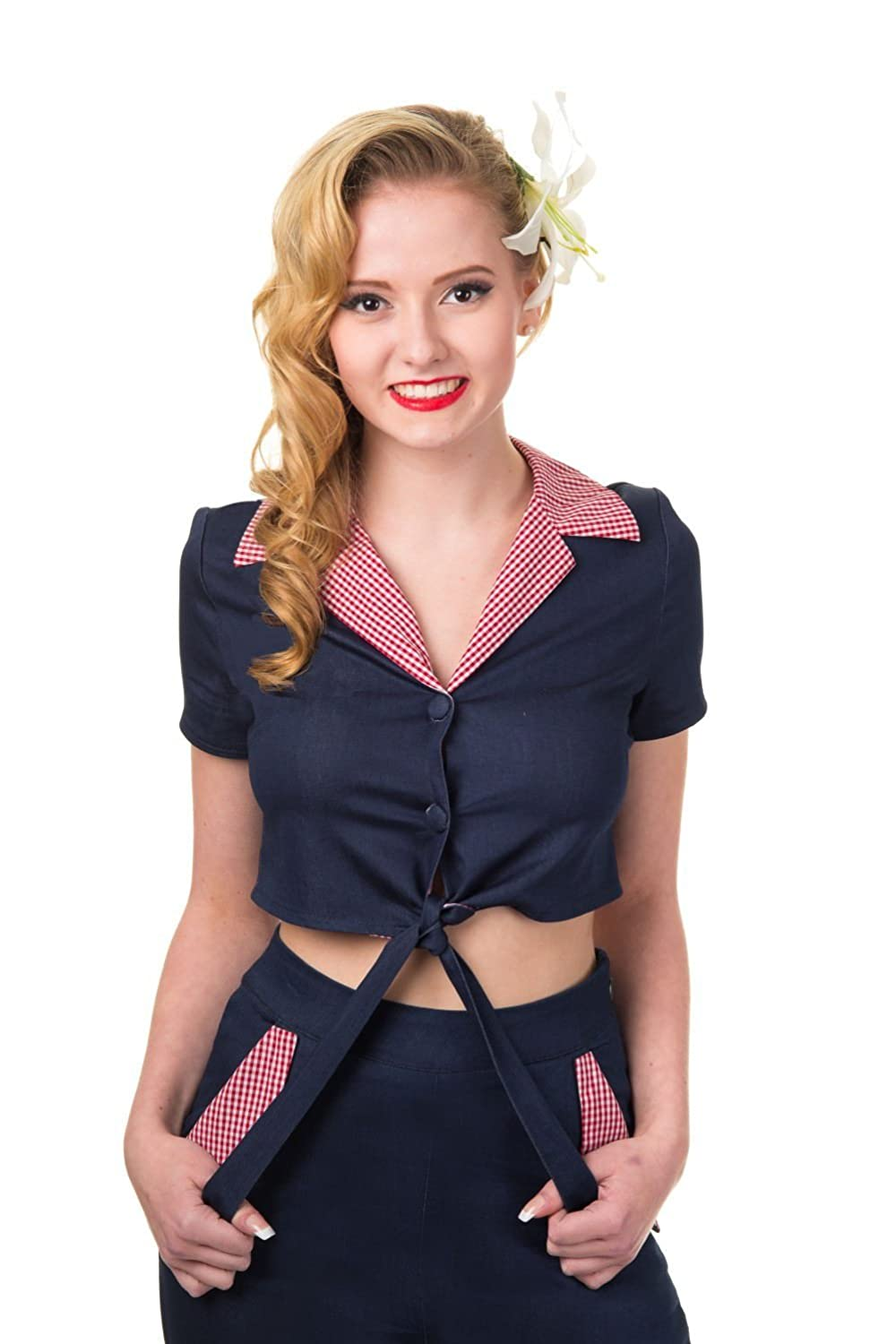 1950s Rockabilly & Pin Up Tops, Blouses, Shirts Banned Apparel Blueberry Hill Shirt $49.52 AT vintagedancer.com