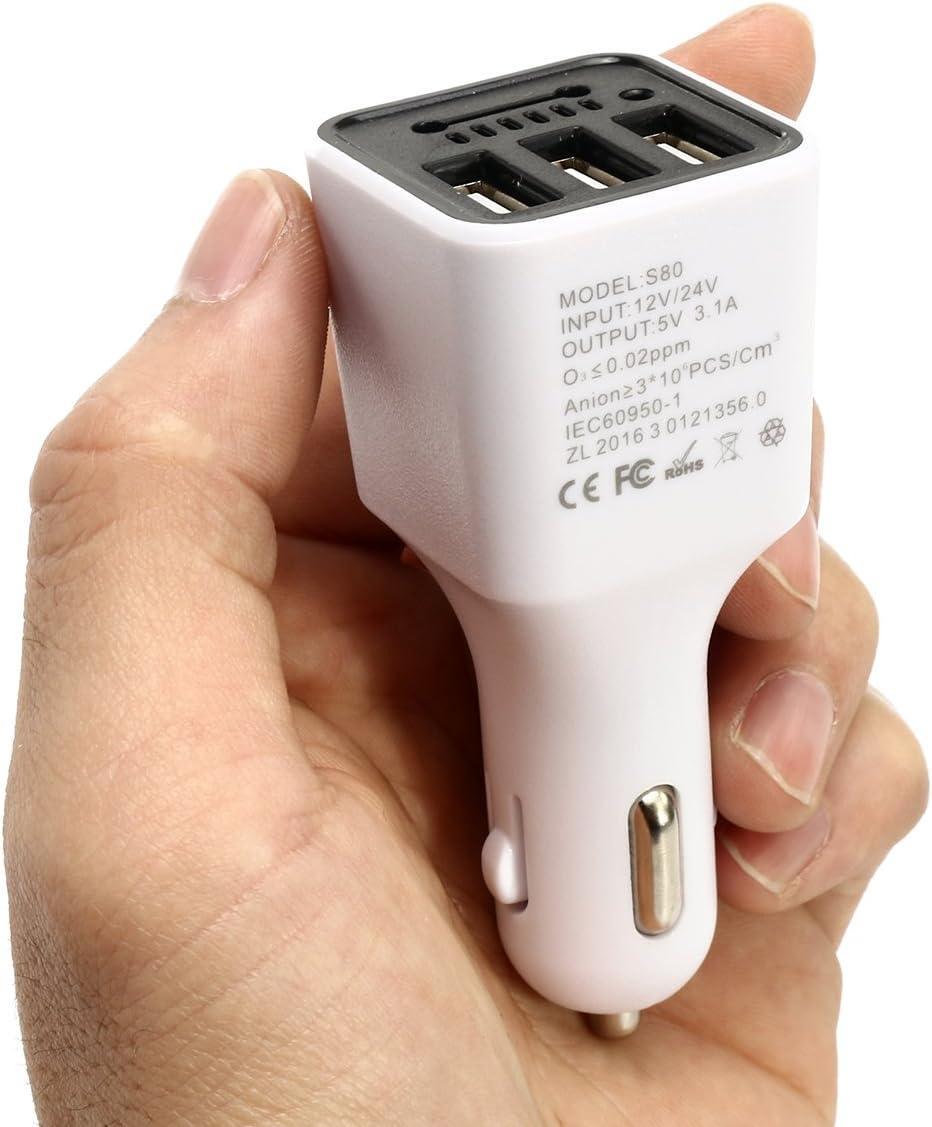 Blanc GOZAR 3 Chargeur De Voiture USB Negative ION Ioniseur G/én/érateur DOxyg/ène Purificateur dair Cleaner