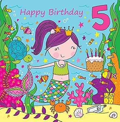 Twizler Tarjeta de 5º cumpleaños para niña con linda sirena ...