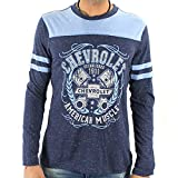 GM General Motors Chevrolet Chevy American Muscle Striped Speckle Blue Long Sleeve T Shirt Licensed