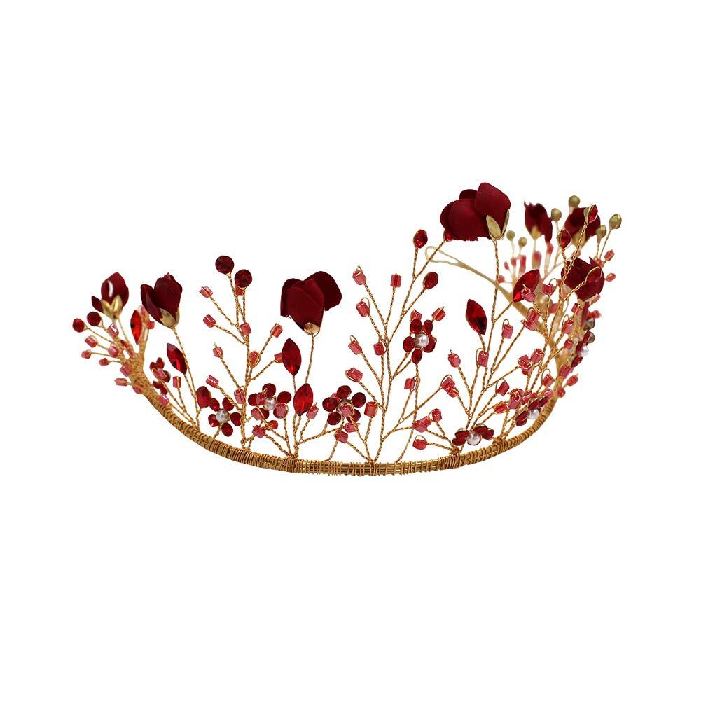 Yazilind Diad/ème Cristal Couronne Bandeau Fleur Rouge Cristal de Princesse en Strass Tiare Nuptiale /Él/égante pour Mari/ée Soir/ée