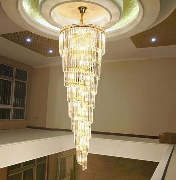 50 Lights Crystal Staircase Chandelier Modern Crystal Raindrop Chandelier Villa Living Room High Ceiling Chandeliers Ceiling Light Fixture