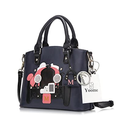 c2c093a1e5 Amazon.com: Yoome Retro Cartoon Bags Top Handle Tote Elegant Bags For Women  Ladies Purse Wallet Casual Bags - Navy: yoome