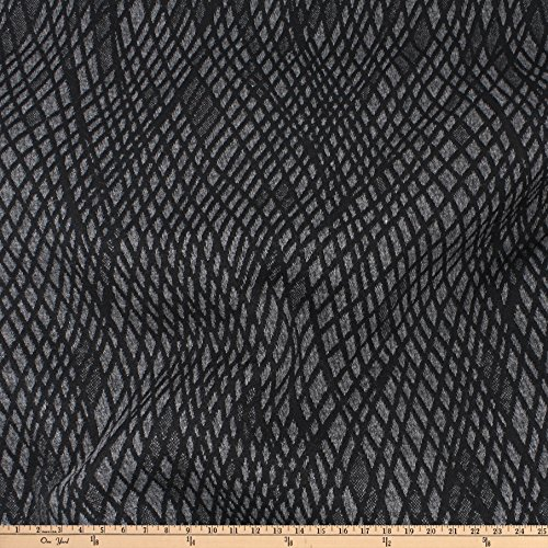 TELIO Kira Knit Jacquard Grey Black Fabric by The Yard
