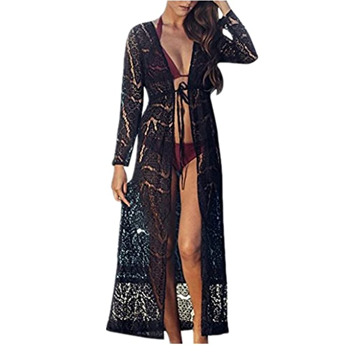 2b462c3e75 beautyjourney Copricostume Mare Donna Lungo Estate Pizzo - Abito Donna  Lungo Elegante Vestiti Vestito Donna Estivo Lungo Costumi Bikini Costume  Donna ...