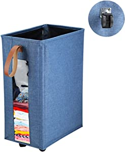 HOSEN Laundry Bag Laundry Basket with Wheels and See-Through Clear Window Visible Laundry Bag with Handle
