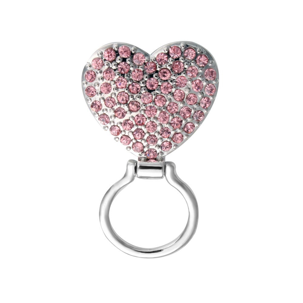 SENFAI Pink Crystal Heart Magnetic Clip Holder Magnetic Eyeglass Holder Brooch Jewelry