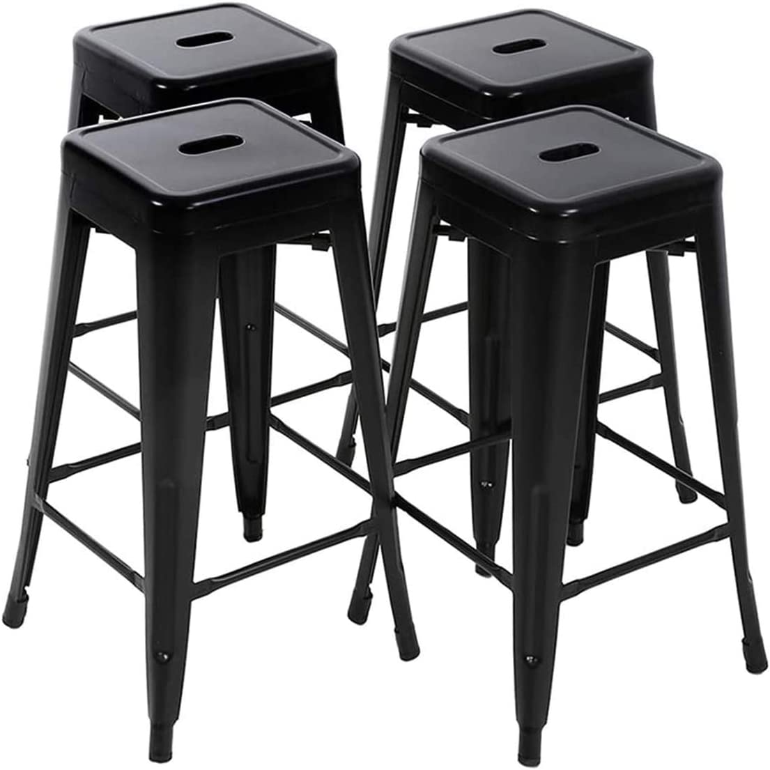 7. LCH 24 Inch Metal Industrial Patio Bar Stools, Set of 4 Indoor