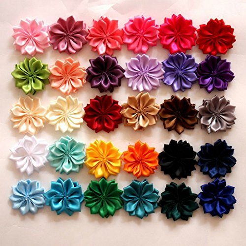 20Pcs EMAXELER Mixed Random Colors Flat-bottomed Beautiful DIY Handmade Decorative Polygonal Wedding Flowers for Headbands Hair Clips Scrapbooking Clothes and More Decoration 20 PCS Polygonal Flowers