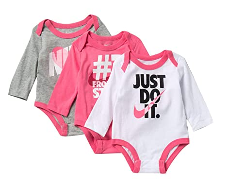 2f6d82fce3 NIKE Swoosh Three-Piece Infant Baby Bodysuit Set (3 Months, Pink(06D740