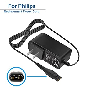 For Philips shaver Charger 15V For Norelco HQ8505 Norelco 7000 5000 3000 Series Electric Shaver Razor, Aquatec, Arcitec, Multigroom Beard Trimmer & More 15V AC Adapter Power Supply Cord