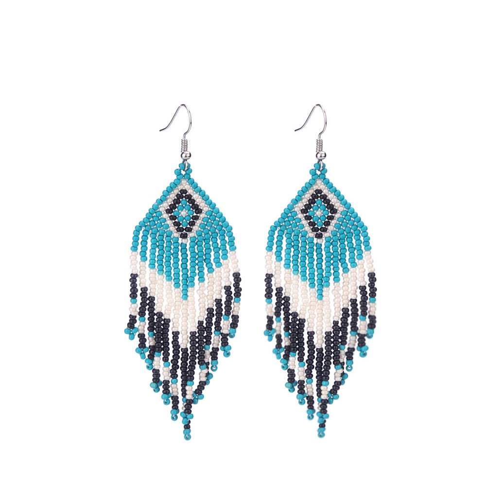 Native American Beaded Earrings with Fringe Seed Bead Boho for Women,Green