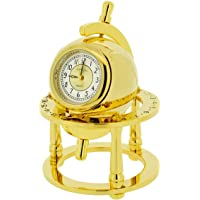 GTP Miniature Unisex Library Globe Gold Plated on Solid Brass Novelty Collectors Mantle Piece Shelf Clock IMP31