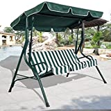 Fashion Green Outdoor Patio Swing Canopy 3 Person Awning Yard Furniture Hammock Steel