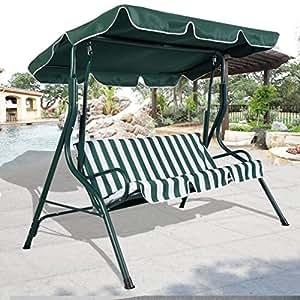 Amazon.com: Fashion Green Outdoor Patio Swing Canopy 3 ...
