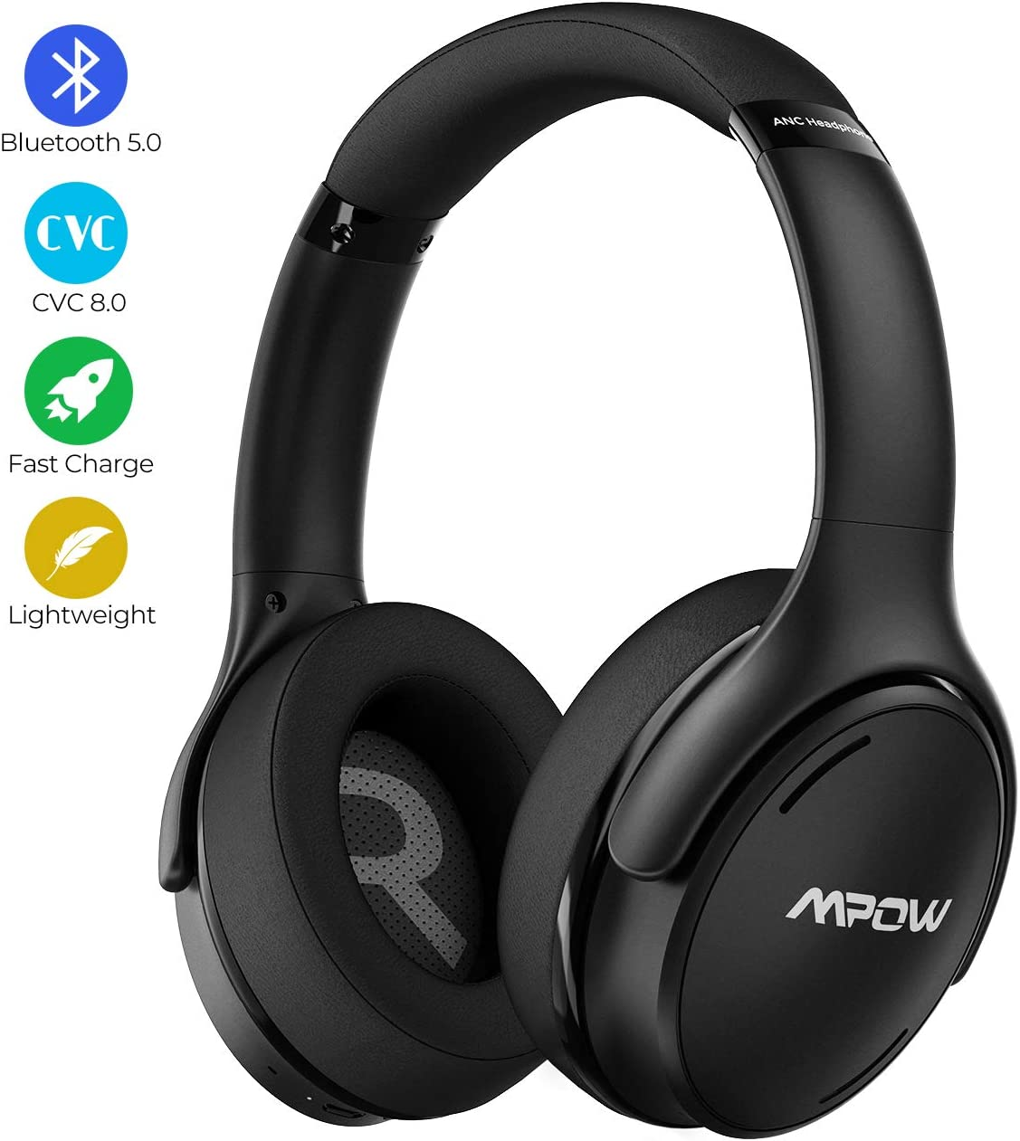 Mpow H19 IPO Active Noise Cancelling Headphones, Bluetooth 5.0 Wireless Headphones with CVC 8.0 Mic, Hi-Fi Stereo Deep Bass, Rapid Charge 35H Playtime, Memory-Protein Earpads Over Ear for Travel Work