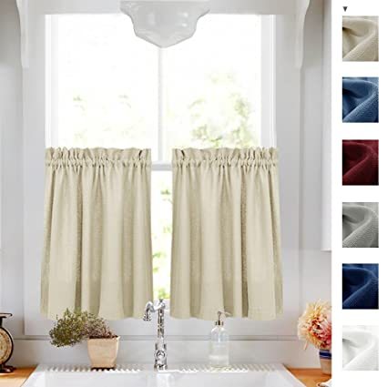 Casual Weave Kitchen Curtains For Windows Privacy Semi Sheer Cafe Curtains  Half Window Curtain Set