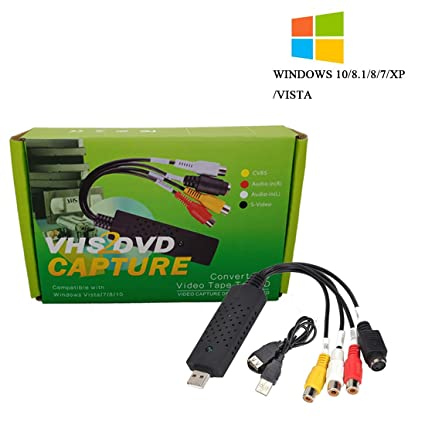 VHS to DVD Converter,USB 2 0 Video Audio Capture Card Grabber Device,VHS  VCR TV to Digital Format Converter Support Windows 10/8/7/XP/VISTA