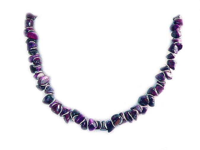 Sugilith echt Edelstein Nugget Kette Halskette Silberplättchen