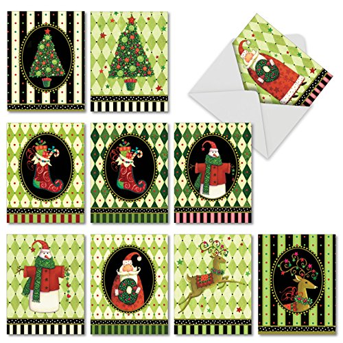 (Harlequin Holidays: 10 Assorted Christmas Note Cards Showing Snowmen, Reindeer and Christmas Trees Over Checkered Design, with Envelopes. AM6442XSG-B1x10)