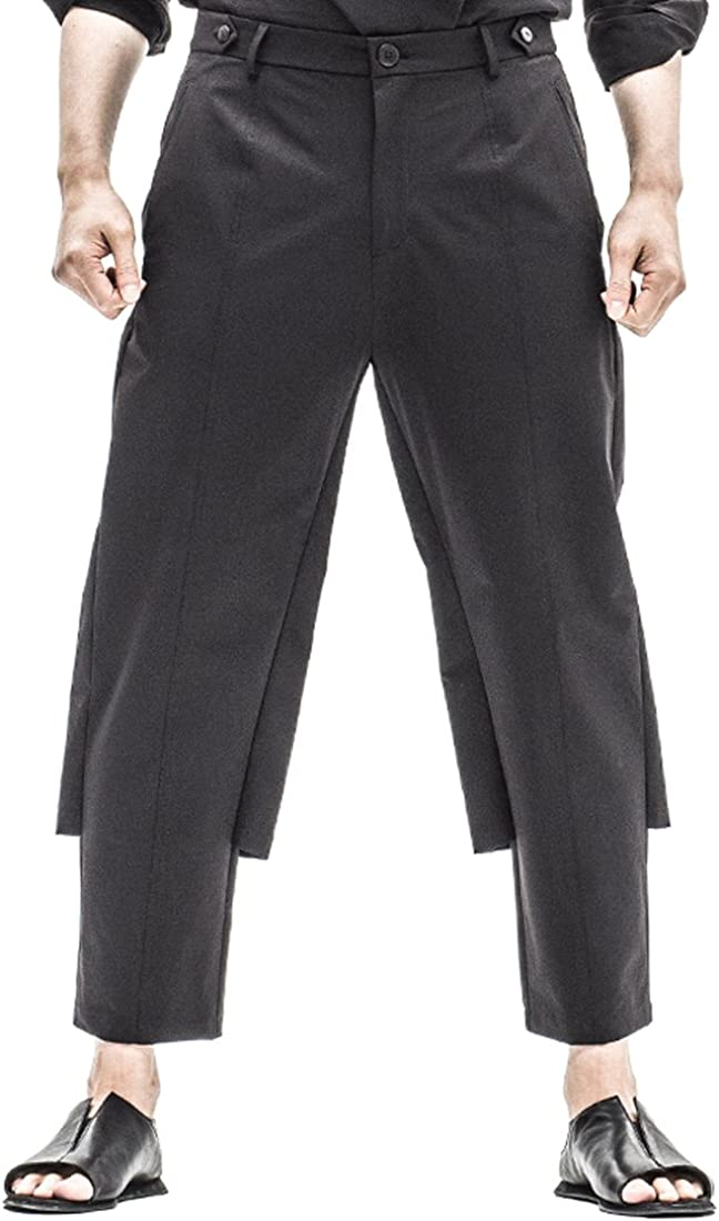 Kung Fu Smith Mens Linen Designer Patchwork False 2-in-1 Warrior Trousers Pants