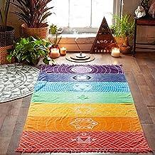 Colorful Yoga Mat, Single Yoga 100% cotton towels with Fringed Rainbow Chakra Tapestry Striped Yoga Mat Beach Towel Yoga Mat Stripes Rainbow Cloth Napkin Fringe Tassel Sky Edge, Yoga Mat Mandala 75cm * 150cm Energy Efficiency Class A +++
