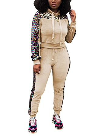 Women s 2 Piece Sequin Tracksuit Outfits Long Sleeve Pullover Hoodie Top  and Pants Set Apricot L 6b3bb4111574