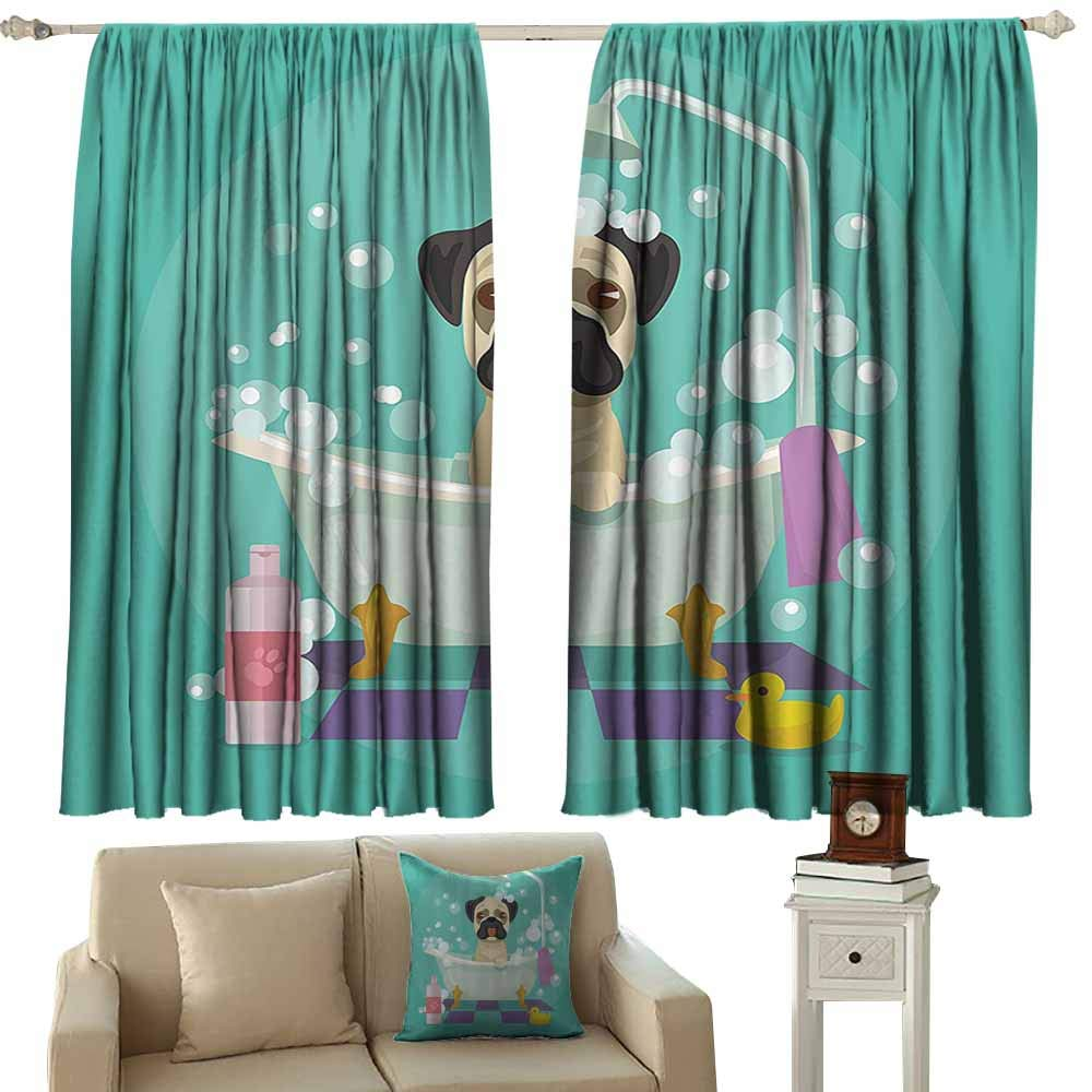 fabric shower curtain liner nursery decor Collection,Pug Dog in Bathtub Grooming Doggy Puppy Salon Service Shampoo Rubber Duck Pets Cartoon Image,Teal 54''x63'',Window Treatment Pair for Bedroom