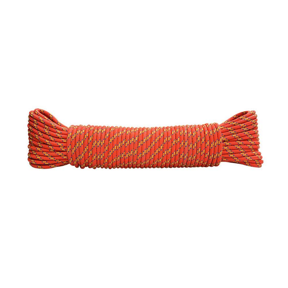 登山補助ロープ、物干しロープ、傘ロープ-直径6 mm、キャンプテントバンドルロープグラブノットロープ、空中作業消防救助下り坂安全ロープ-オレンジ-2 オレンジ 200m