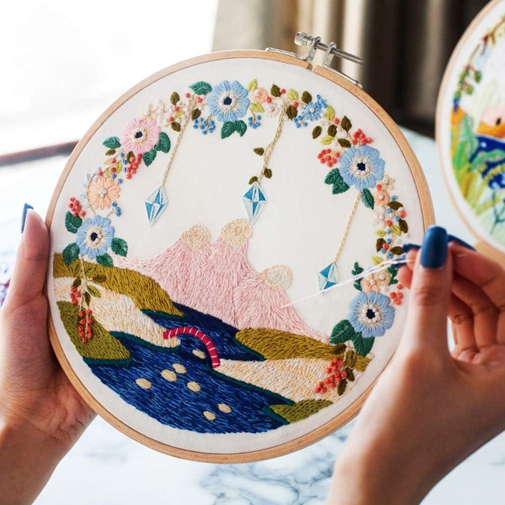 UHAPEER Embroidery Kit Stickset mit 3 Stickereien Landschafts Muster Stickerei Set mit Muster und Anweisungen Farbf/äden Werkzeuge und Perlen f/ür Anf/änger und Amateur