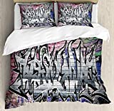 Brick Wall Bedding Duvet Cover Sets for Children/Adult/Kids/Teens Twin Size, Graffiti Grunge Art Wall Several Creepy Underground City Urban Landscape Print, Hotel Luxury Decorative 4pcs, Multicolor