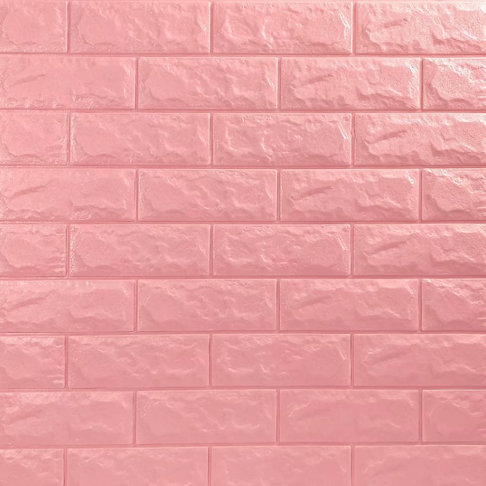 3D立体壁紙 DIYレンガ調壁紙シール ウォールステッカー 軽量レンガシール 壁紙シール 自己粘着 防水 多色選択 B07DJ5NHPR 70*77cm(10枚入れ)|ピンク ピンク 70*77cm(10枚入れ)