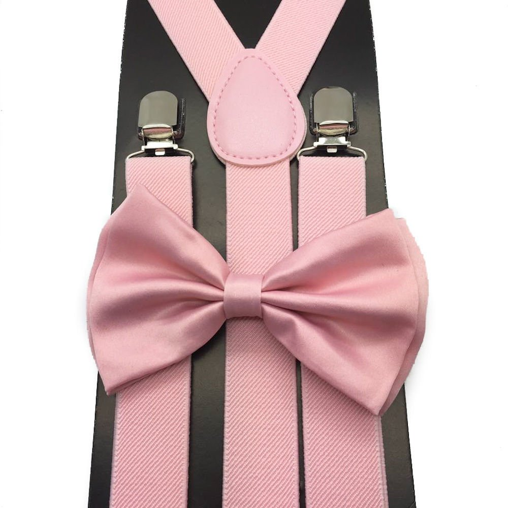 e4cf0088f623 Amazon.com: Awesome Light Pink Wedding Accessories Adjustable Bow Tie &  Suspenders: Clothing