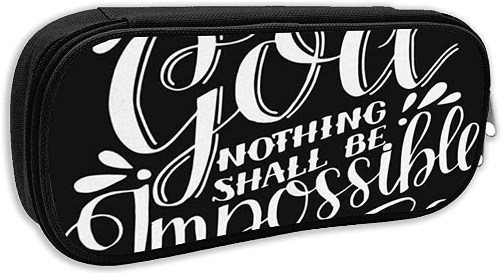 Estuche para lápices escolares, letras a mano con Dios Nada será imposible en un bolso de bolígrafo negro Bolsa de papelería de oficina: Amazon.es: Oficina y papelería