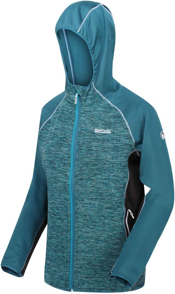 Regatta Walbury Stretch Hood Sleeves Side Panels Softshell Jacket, Pile Uomo Donna OceDep/SeaBl