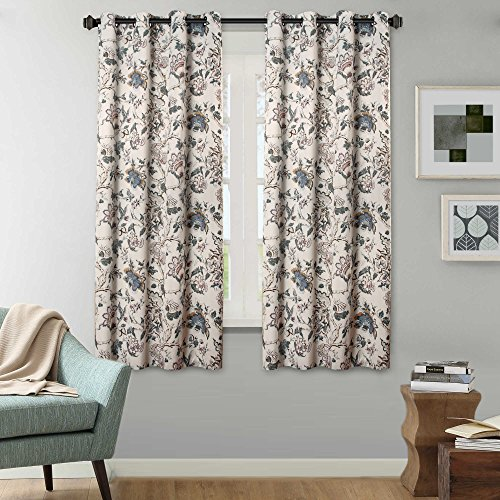 H.VERSAILTEX Room Darkening Curtains for Living Room Thermal Insulated Blackout Grommet Window Panels - 52 by 63 inch Length, 2 Panels, Traditional Floral Pattern in Sage and ()
