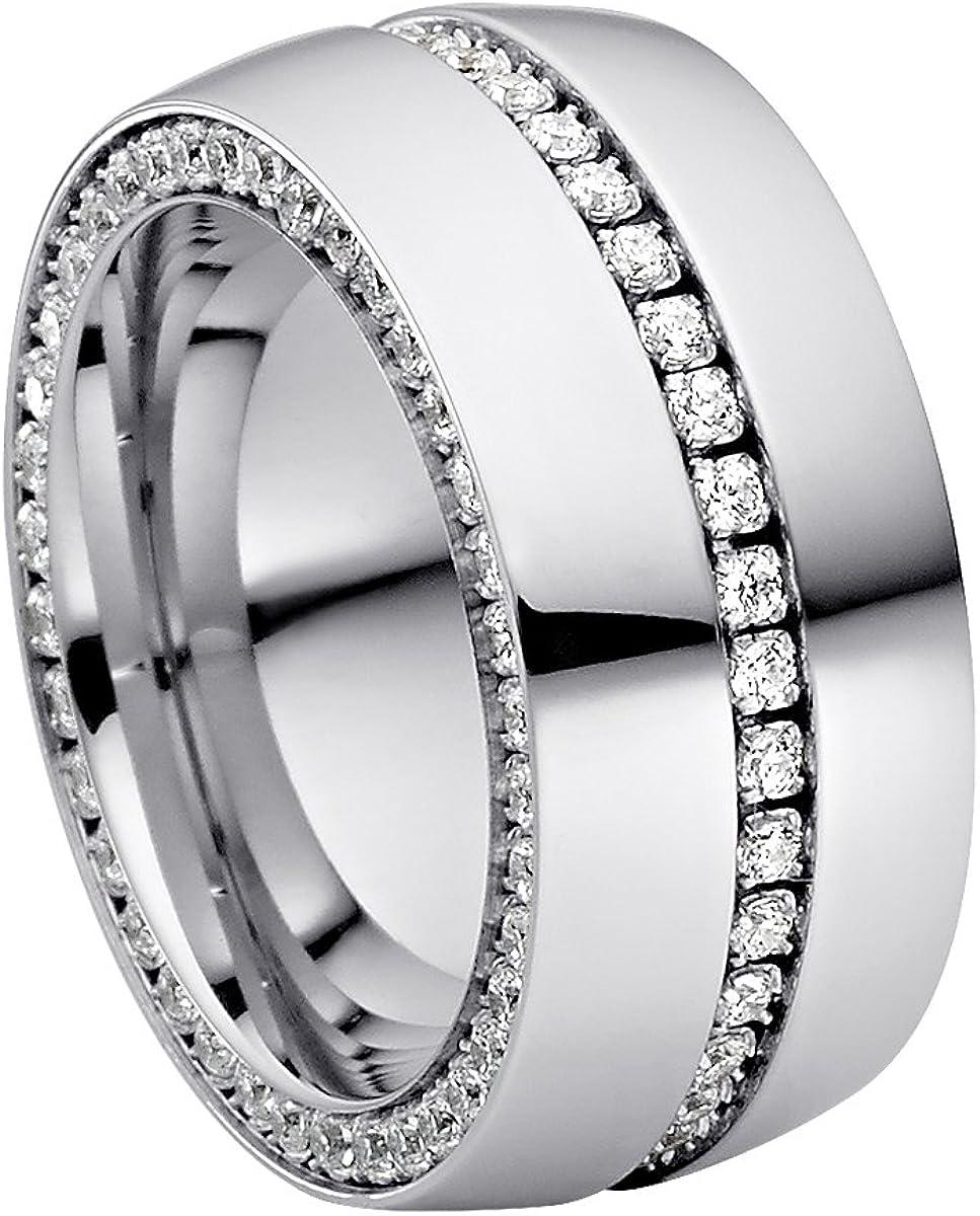 Anillo Heideman Ring Ladies Ductus Acero Inoxidable Colores Plata Pulido Anillo para Mujeres con Swarovski Stone Zirconia Blanco Brillante Corte