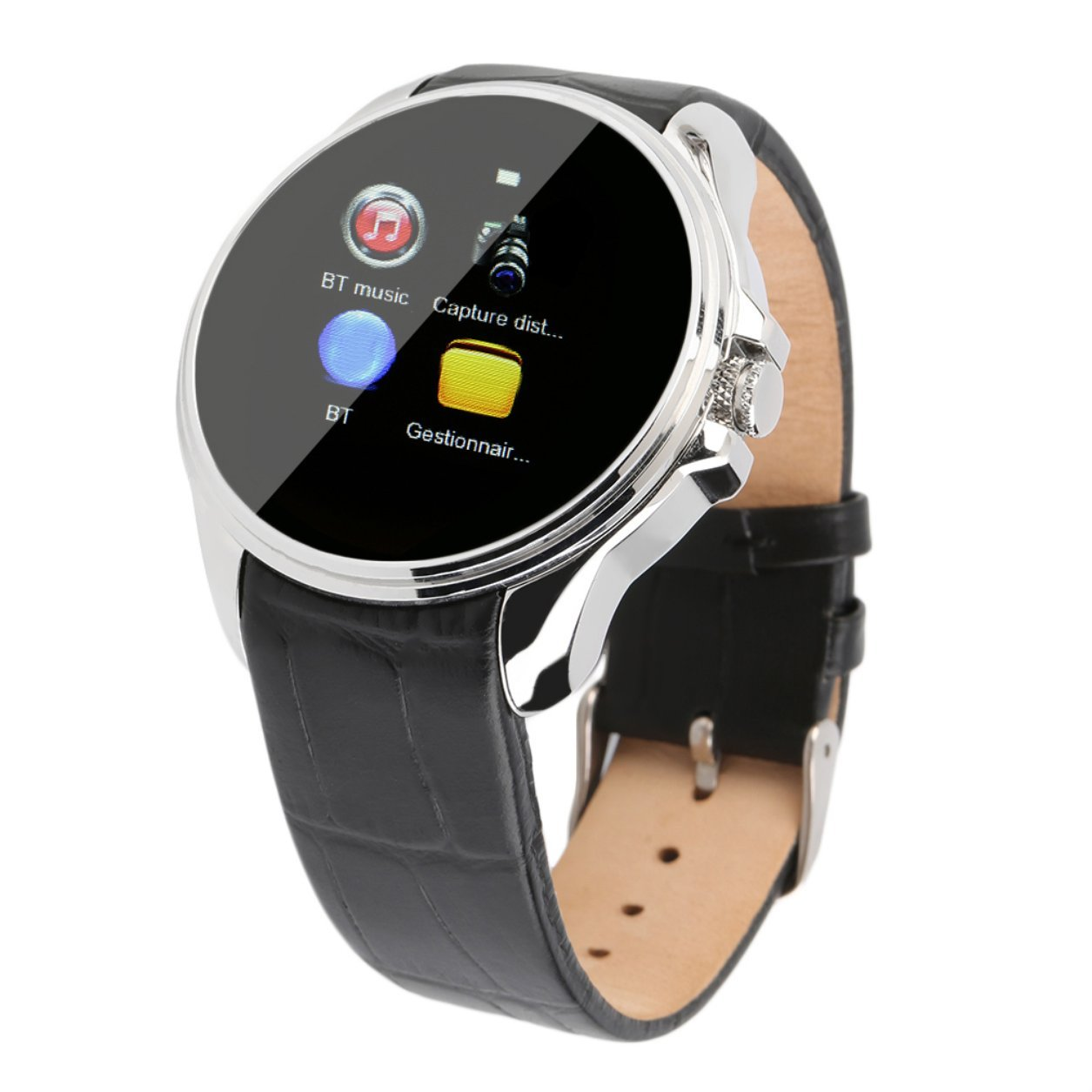 Cool Fashion Mini Phone Camera Android 4.4 iOS 7 Bluetooth Smart Watch(Color:Silver) B07KP68FT2 銀