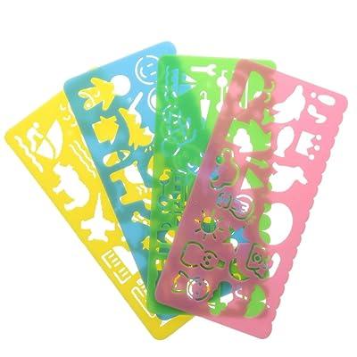 4pcs Plantillas De Dibujo Multicolor Regla Variedad De Estudiantes De Plástico De Niños: Juguetes y juegos