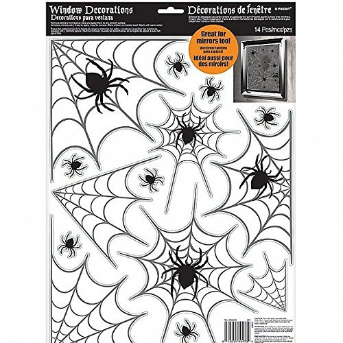 Amscan Halloween Spiders and Webs Vinyl Window Clings 14 Pieces ()