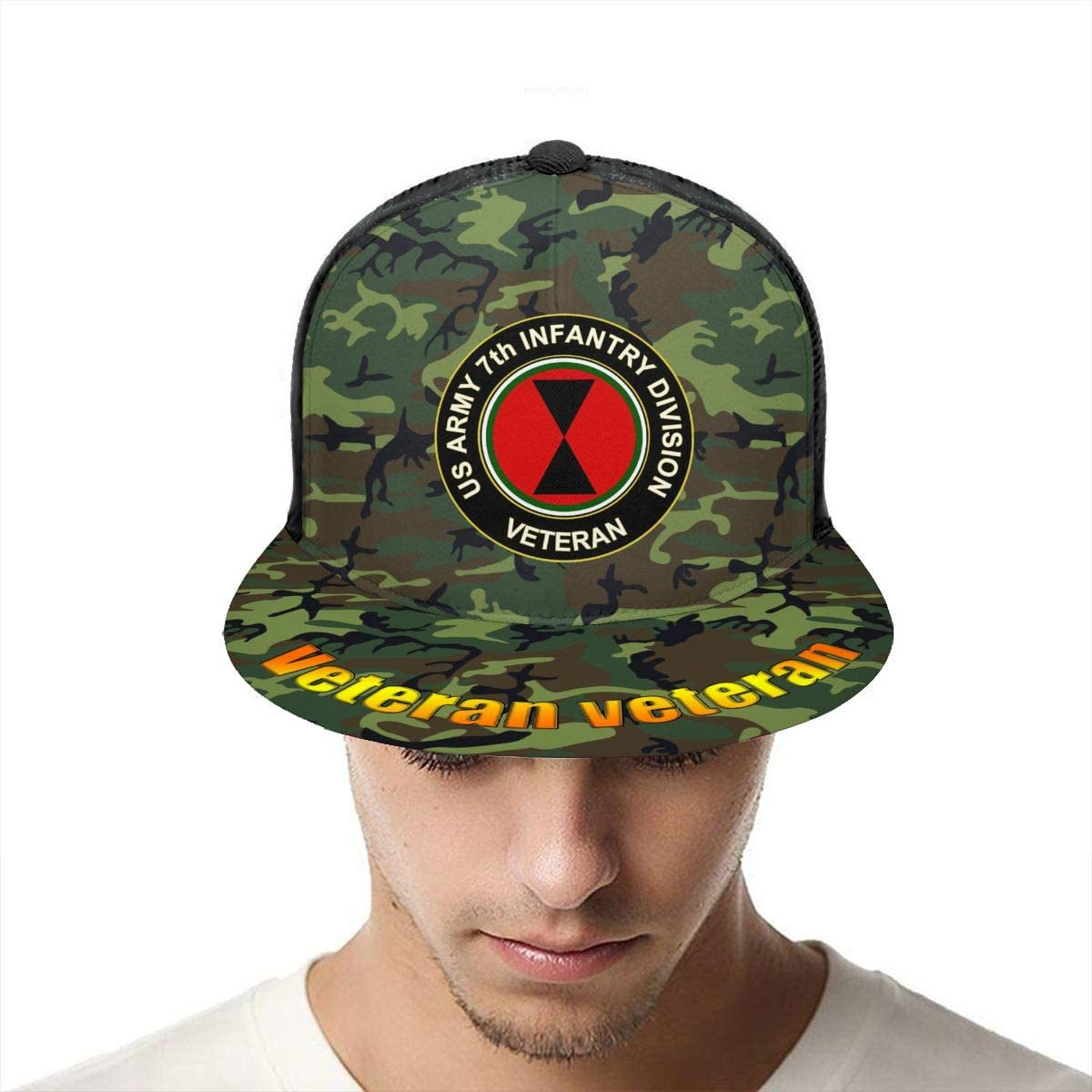 US Army 7th Infantry Division Veteran Classic Grid Cap Flat Along Baseball Hats Snapback Unisex Caps Adjustable