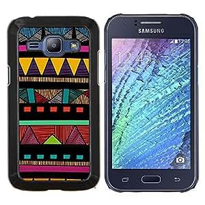 KLONGSHOP // Cubierta de piel con cierre a presión Shell trasero duro de goma Protección Caso - Indian modelo colorido nativo americano - Samsung Galaxy J1 J100 //
