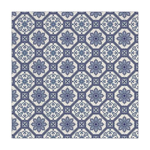 Tablecloth,Arabian,Arabesque Floral Oriental Persian Afghan Medieval Baroque Tiles Shapes Tribal Artsy,Blue White,Dining Room Kitchen Table Cloth Cover ()