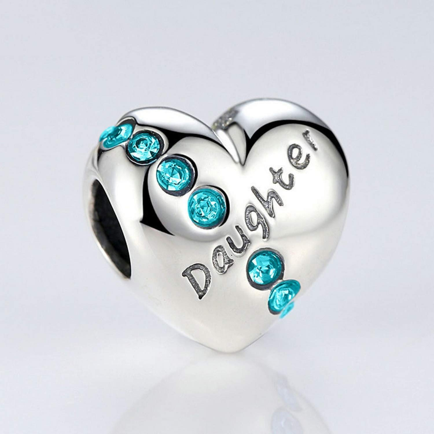Evereena Silver Beads Bracelet for Girls Daughter Love Heart Gift Charm Beads with Blue Luxury CZ Stone Womens Jewelry