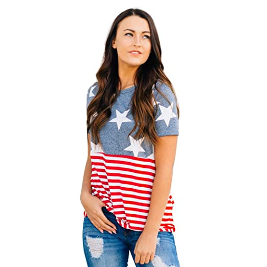 8ce0d026bbc336 Minisoya Women 4th of July T-Shirt Casual Summer Tops Pullover Short Sleeve  Stars Striped Blouse Loose Tunic Shirt at Amazon Women's Clothing store: