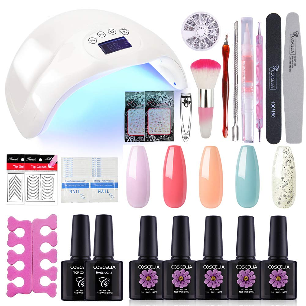 Coscelia Gel Polish Manicure Kit- 5 Colors Nail Polish with 48W LED Nail Lamp Base and Top Coat and Manicure Tools Professional Nail Art Set by COSCELIA