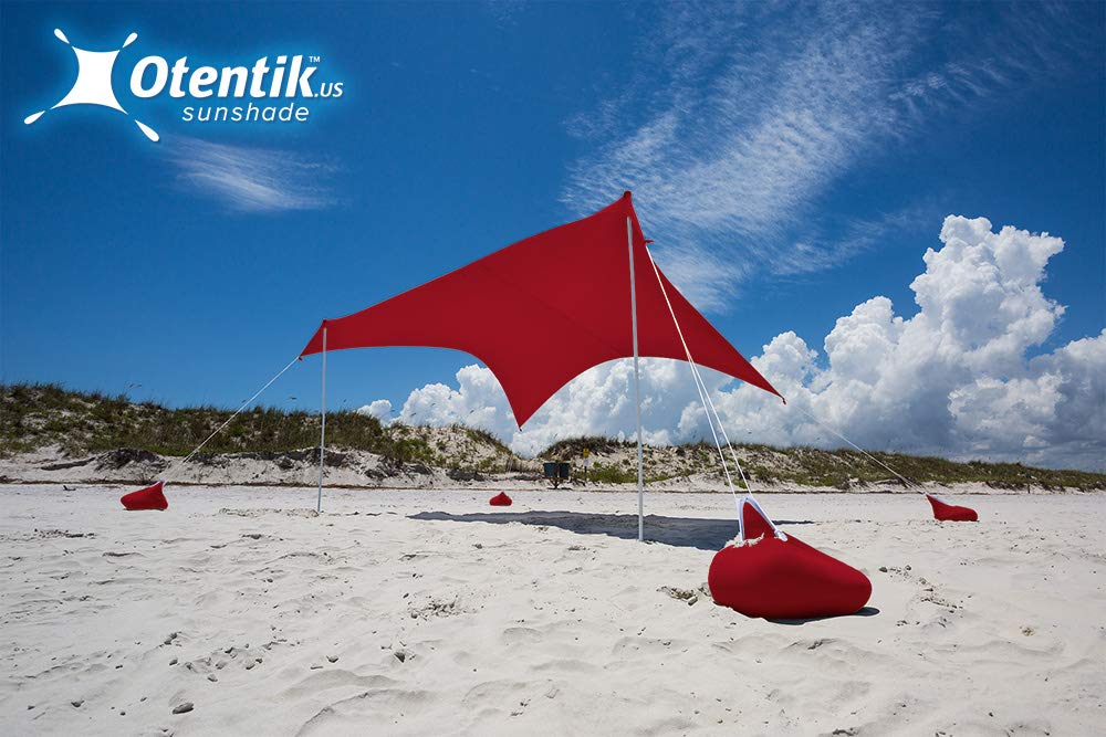 Otentik Beach Sunshade - with Sandbag Anchors - The Original Sunshade Since 2011 (Brick, Large 8.5 x 9 ft and 6.5 ft Tall - up to 7 People) by Otentik