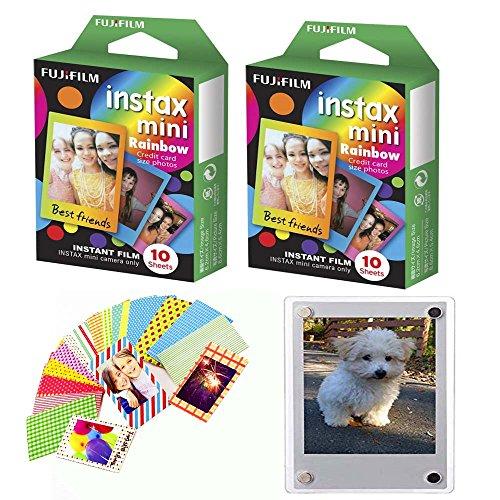 Fujifilm Instax Mini Film Rainbow Border - 2 Packs - with Bonus 20 Decorative Skin Stick-on Stickers Design Kit - 20 Shots Total