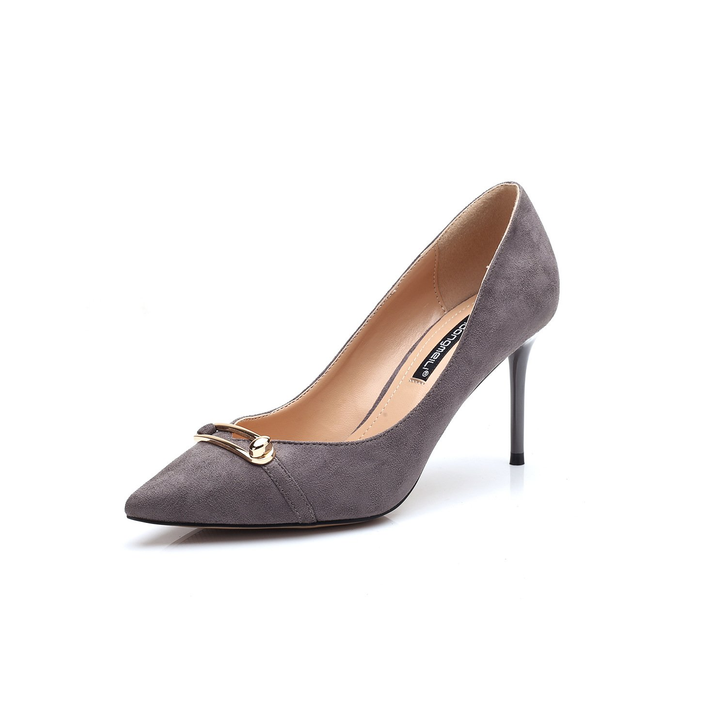 Tip of the high-heel shoes fine with v metal clip 8cm black, gray, 37
